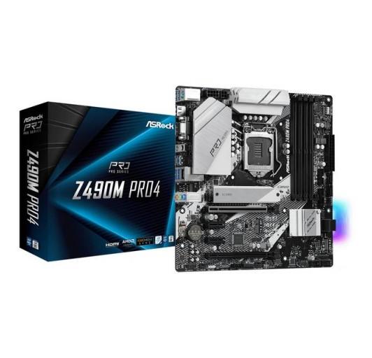 ASROCK Z490M PRO4 LGA1200/ Intel Z490/ DDR4/ SATA3&USB3.2/ M.2/ Quad CrossFireX/ MATX