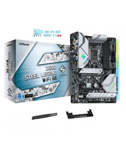 ASROCK Z590 STEEL LEGEND WIFI 6E S LGA1200/ Intel Z590/ DDR4/ Quad CrossFireX/ SATA3&USB3.2/ M.2/ WiFi&Blth ATX